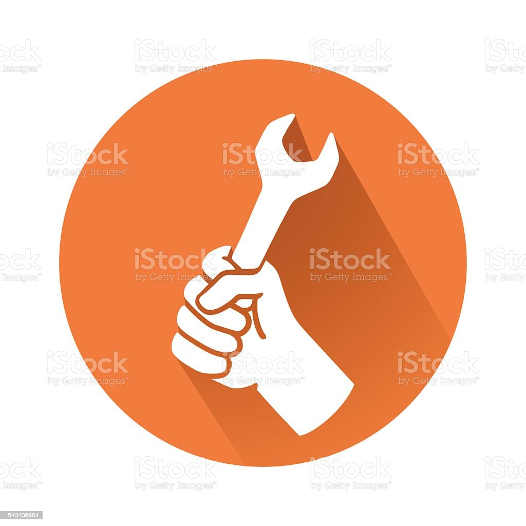hand with wrench vector art illustration