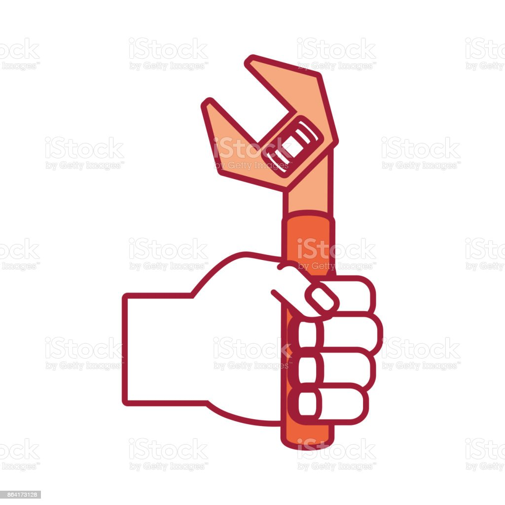 hand with wrench vector  illustratio royalty-free hand with wrench vector illustratio stock vector art & more images of arm