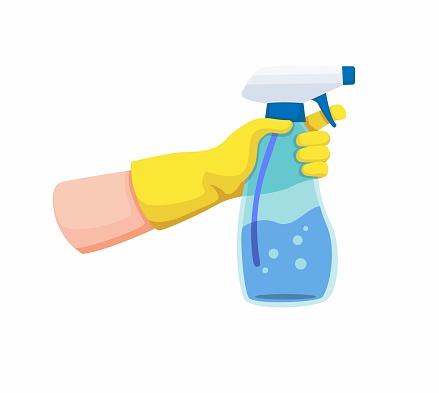 hand with yellow glove holding spray transparent plastic bottle for disinfectant or cleaning. cartoon illustration on white background
