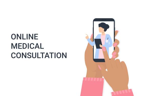 ilustraciones, imágenes clip art, dibujos animados e iconos de stock de mano mujer con teléfono y doctor mujer en línea - telehealth