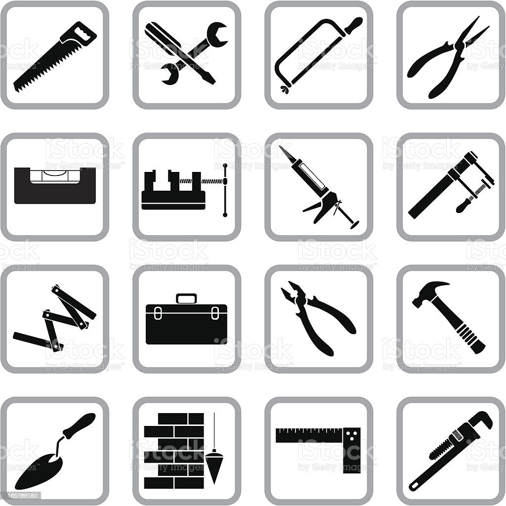 Hand work tools icons vector art illustration