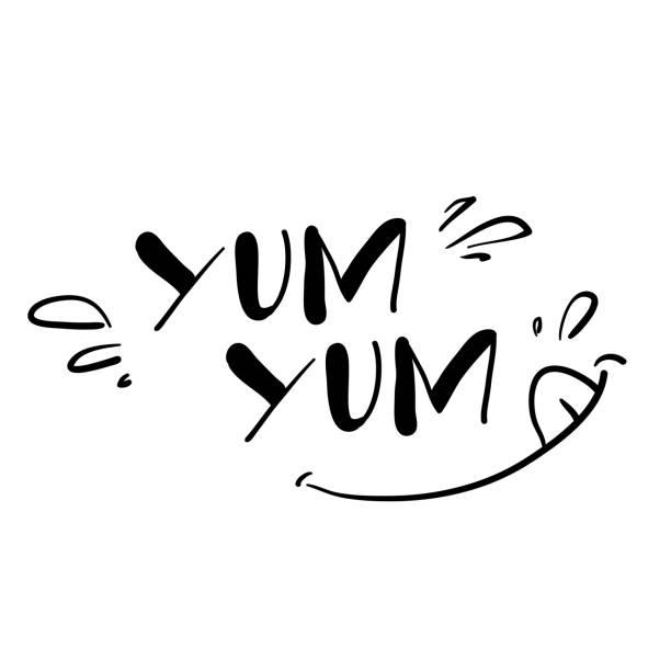 stockillustraties, clipart, cartoons en iconen met hand schrijven illustratie symbool voor heerlijke voedsel smaak met doodle cartoon stijl - eetklaar