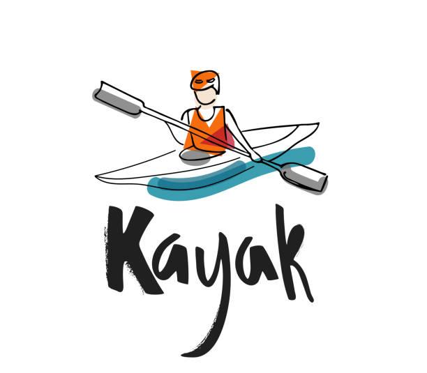 """ilustraciones, imágenes clip art, dibujos animados e iconos de stock de mano escribiendo """"kayak"""" con ilustración de un hombre en kayak - kayak"""