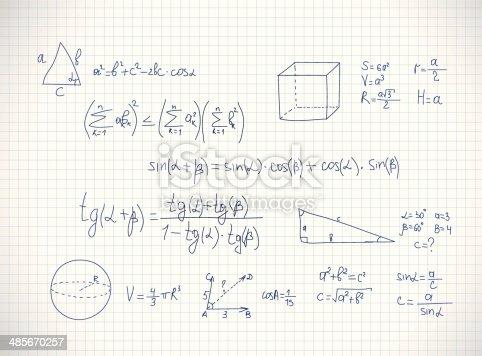 Hand writing mathematics formula. Vector illustration
