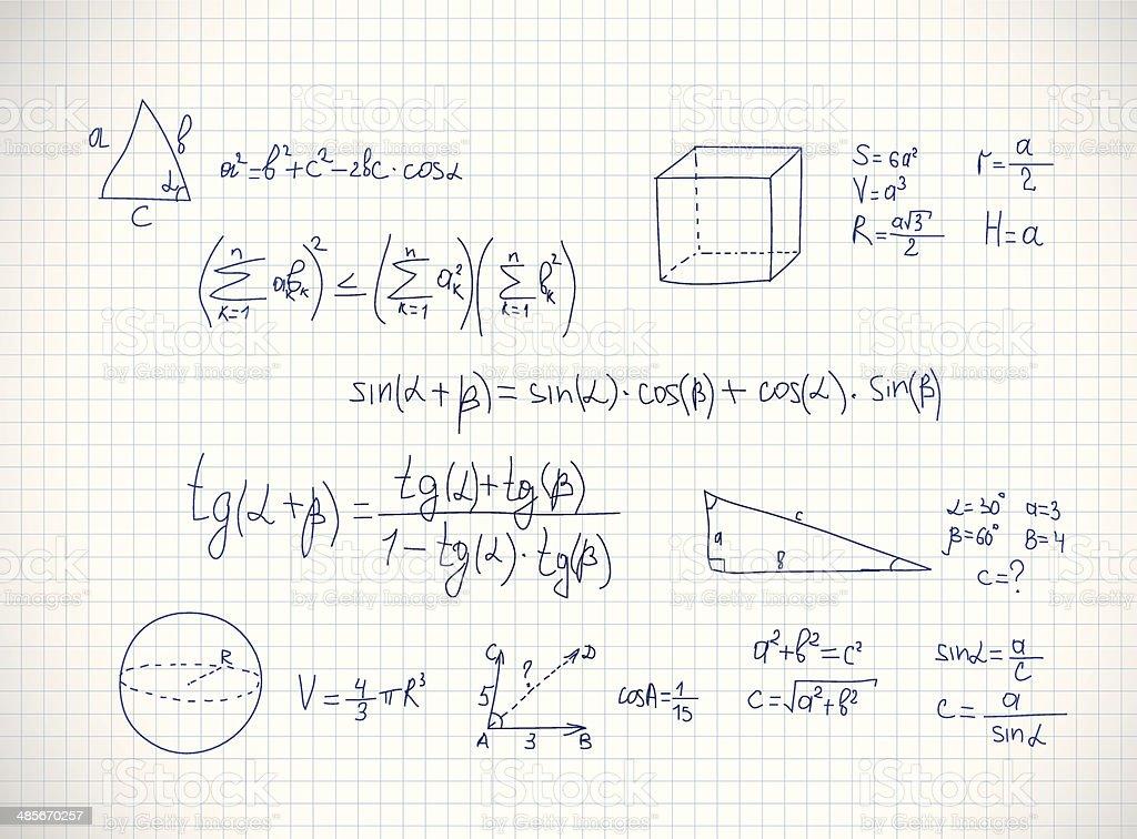 Hand writing mathematics formula. Vector vector art illustration