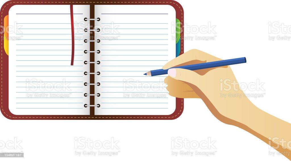 Hand writing on organizer page vector art illustration