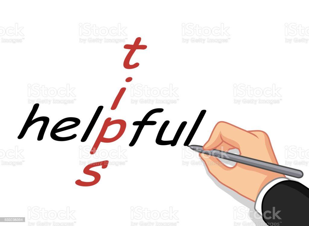 hand writing tips for help vector art illustration