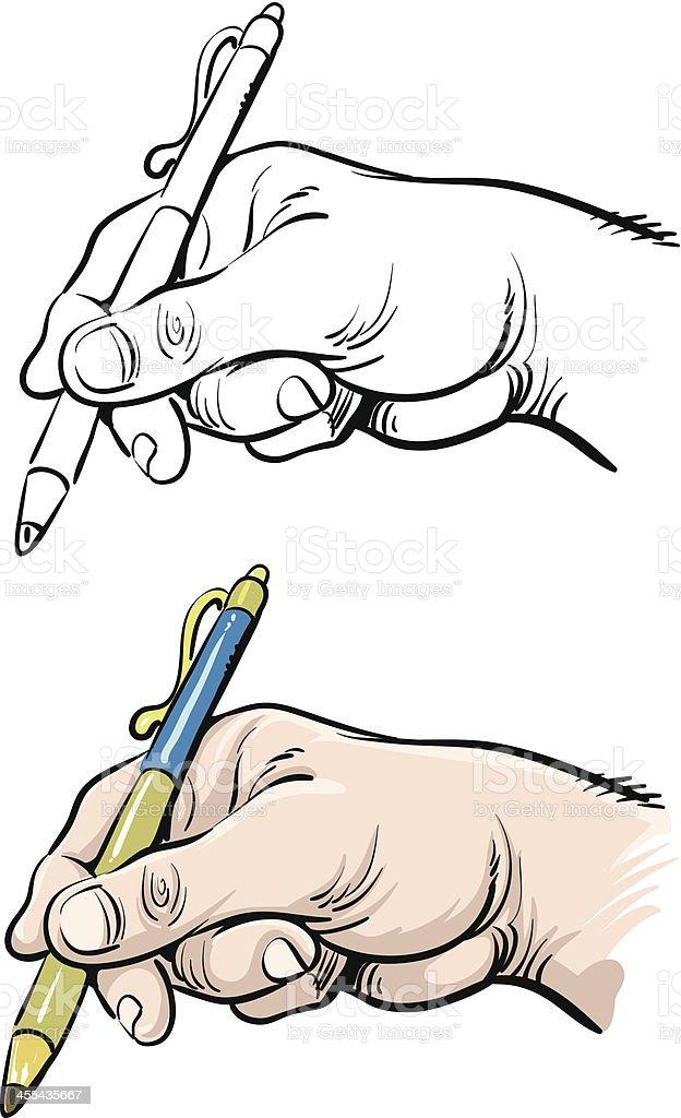 Hand writing vector art illustration