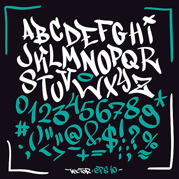hand written graffiti font alphabet. vector set on black - graffiti fonts stock illustrations, clip art, cartoons, & icons