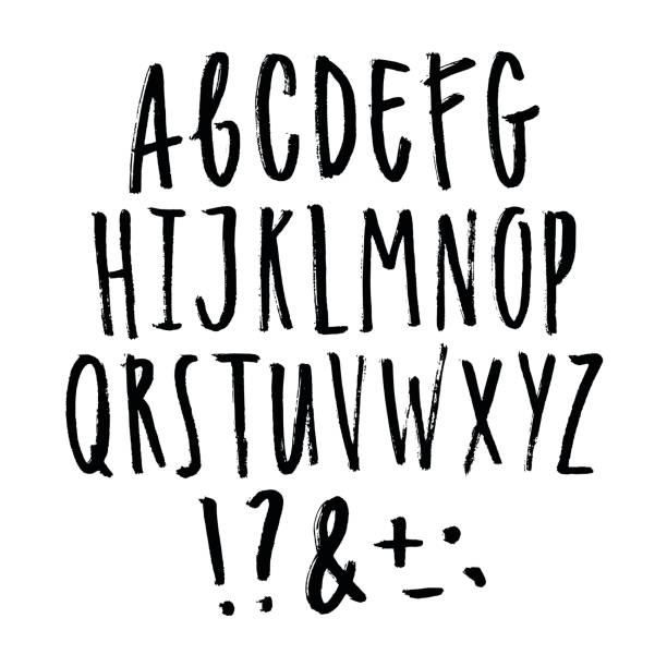 hand written grunge font. - alphabet drawings stock illustrations