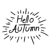 Hand Written Hello Autumn Lettering