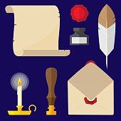 Vector illustration of various hand written letter items including quill, parchment, envelope, wax seal, was seal stamper, ink well, and candle in flat style.