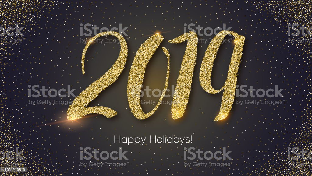 design of happy new year card with calligraphy hand