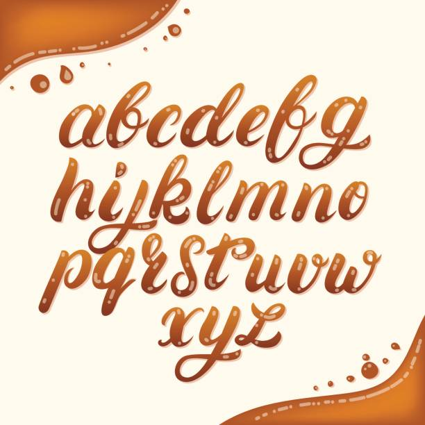 Hand written lowercase alphabet made of caramel. Hand written lowercase alphabet made of caramel. Modern calligraphy. Font style. Brush font isolated on background. Vector illustration. caramel stock illustrations