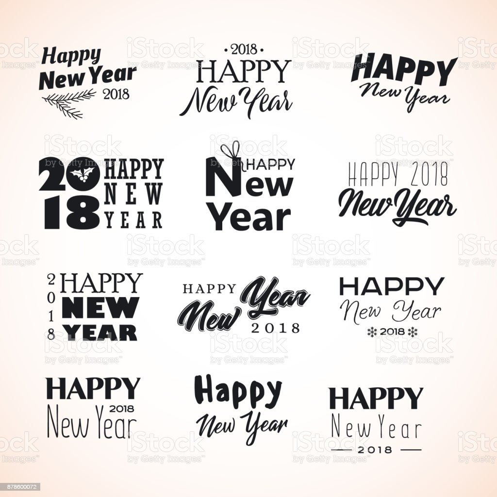 Hand Written New Year Phrases Happy Holidays Lettering In Modern ...
