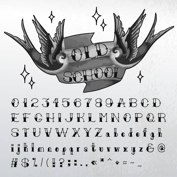 ilustrações de stock, clip art, desenhos animados e ícones de hand written old school font - tatuagem