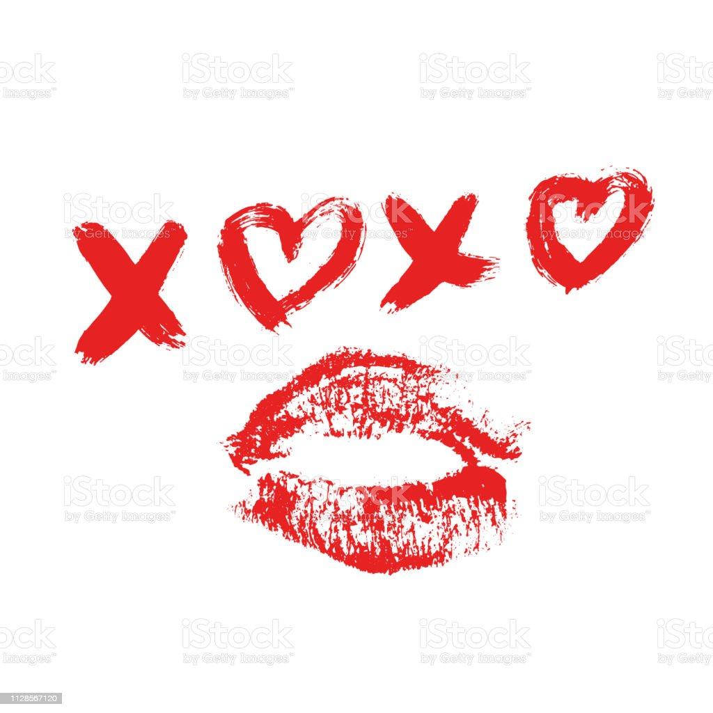 Vetores De Xoxo Escritos à Mão Frase E Batom Vermelho Beijo