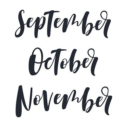 hand written september october november stock illustration download image now istock