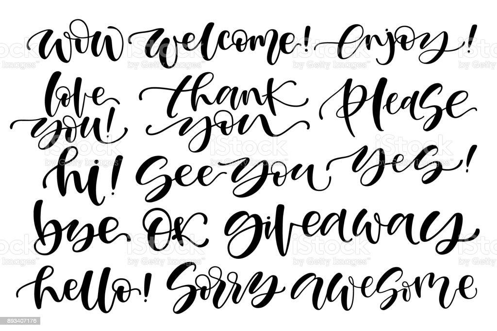 Handgeschriebene Reihe Von Kurzen Phrasenja Danke Bye Ok Super