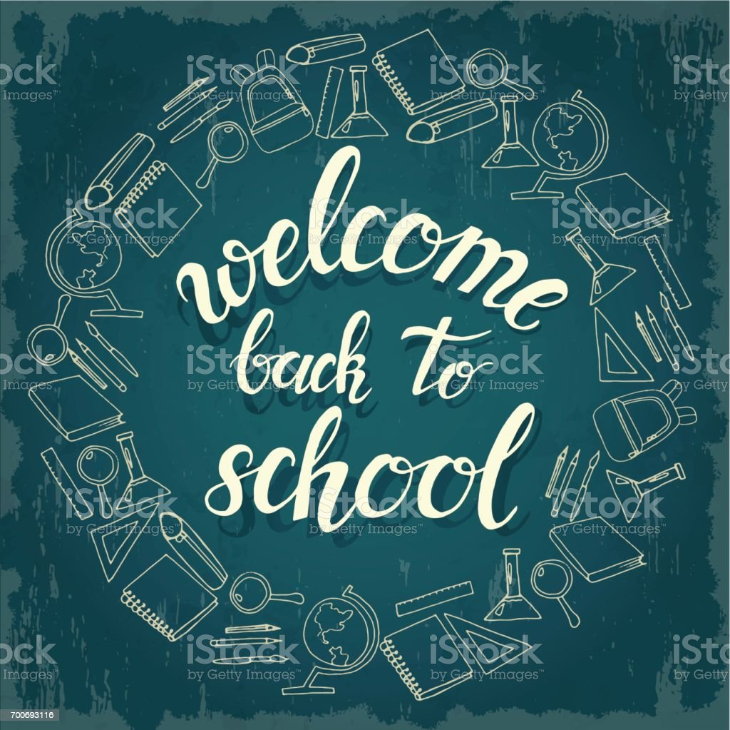 Hand Written Trendy Quote U0027welcome Back To Schoolu0027. Hand Drawn Lettering  Surrounded By