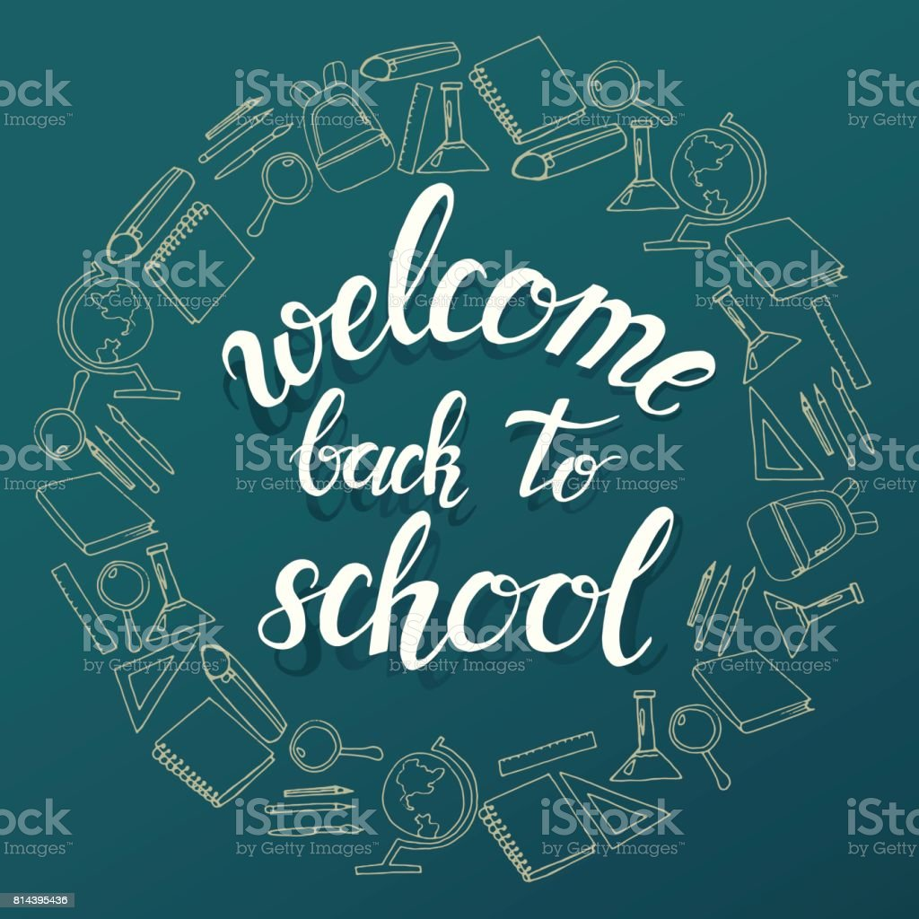 Hand Written Trendy Quote U0027welcome Back To Schoolu0027. Royalty Free Hand  Written