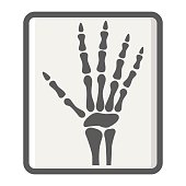 Hand X-ray filled outline icon, medicine and healthcare, radiology sign vector graphics, a colorful line pattern on a white background, eps 10.