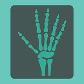 Hand X-ray flat icon, medicine and healthcare, radiology sign vector graphics, a colorful solid pattern on a cyan background, eps 10.