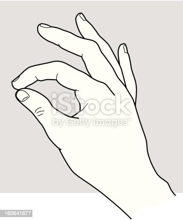 A line art illustration of a hand with the index finger touching the thumb, specially designed for user instructions: The thumb is in a separate layer for easy insertion of any tool or device required. Additional formats: AI & PDF. A variety of other hand positions is available.
