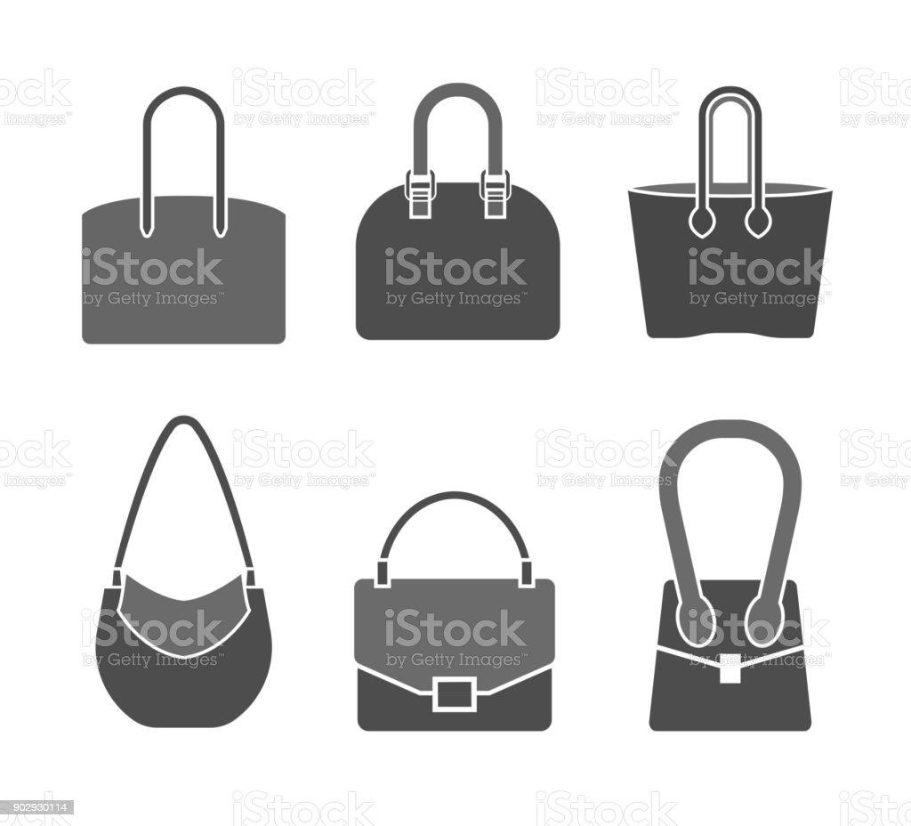 Handbag icons set vector art illustration