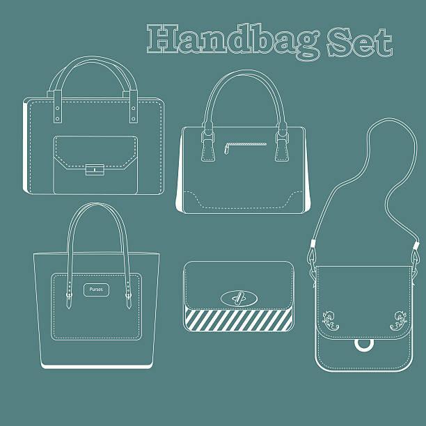 handtasche set - laptoptaschen stock-grafiken, -clipart, -cartoons und -symbole