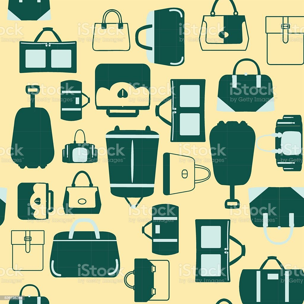 Handbags bags and Travel suitcases background vector art illustration