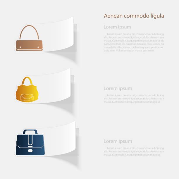 handtaschen. flache aufkleber mit schatten auf weißem hintergrund - lederverarbeitung stock-grafiken, -clipart, -cartoons und -symbole