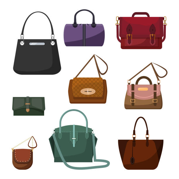 handtaschen für frauen-set - lederranzen stock-grafiken, -clipart, -cartoons und -symbole