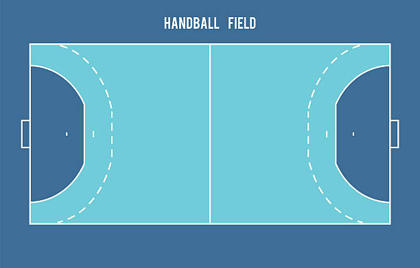 bildbanksillustrationer, clip art samt tecknat material och ikoner med handball field. top view vector illustration. - handboll