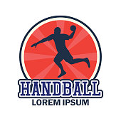 handball insignia with text space for your slogan / tag line, vector illustration