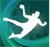 Handball Player Silhouette Shooting Goal - Green Background