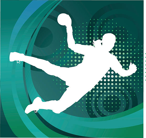 bildbanksillustrationer, clip art samt tecknat material och ikoner med handball player silhouette shooting goal - green background - handboll