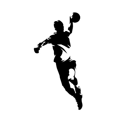 Handball player throwing ball and scoring goal, ink drawing isolated vector silhouette, front view
