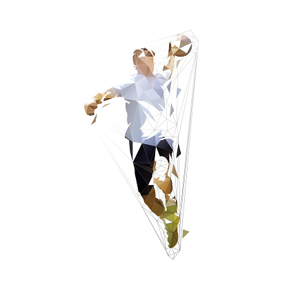 Handball player throwing ball and scoring goal, low polygonal geometric isolated vector illustration, front view