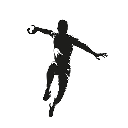 Handball player throwing ball, front view. Isolated vector silhouette
