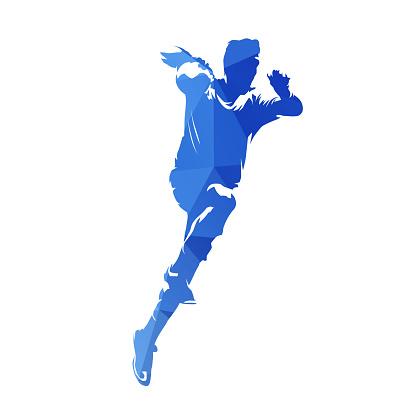 Handball player throwing ball, shooting on goal, abstract blue geometric silhouette