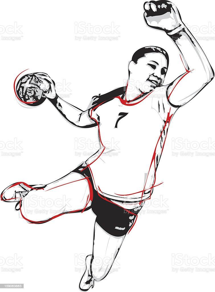 handball player vector art illustration