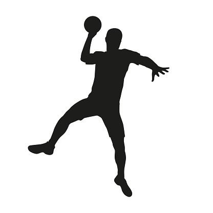 Handball player. Vector silhouette