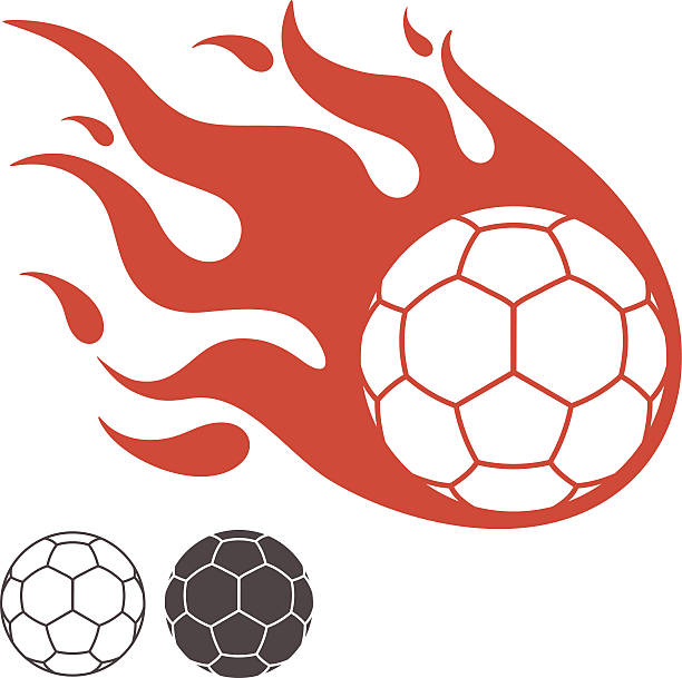 bildbanksillustrationer, clip art samt tecknat material och ikoner med handballs on fire digital illustration - handboll
