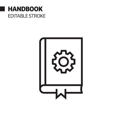 Handbook  Line Icon, Outline Vector Symbol Illustration. Pixel Perfect, Editable Stroke.