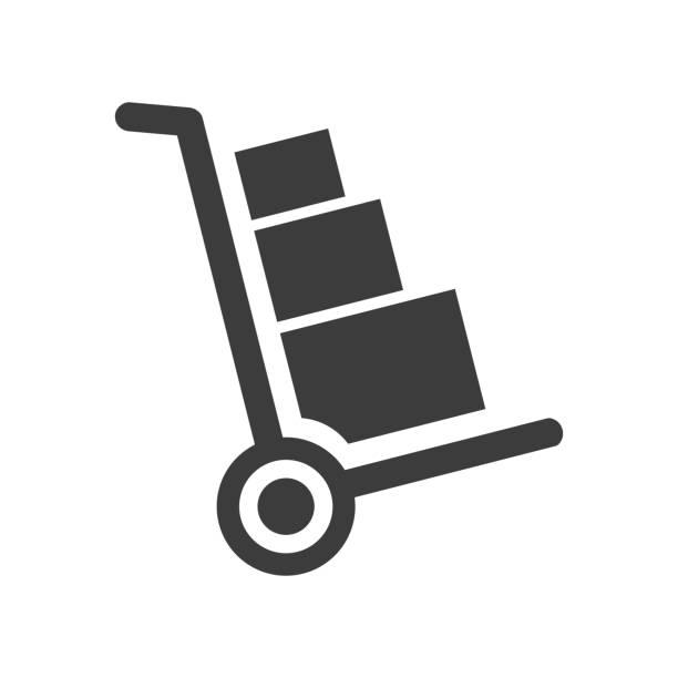 handcart icon on white background. - wózek transportowy stock illustrations