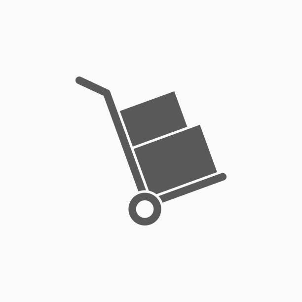handcart icon - wózek transportowy stock illustrations
