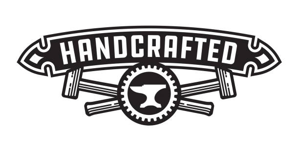 Handcrafted design or badge with hammers vector art illustration