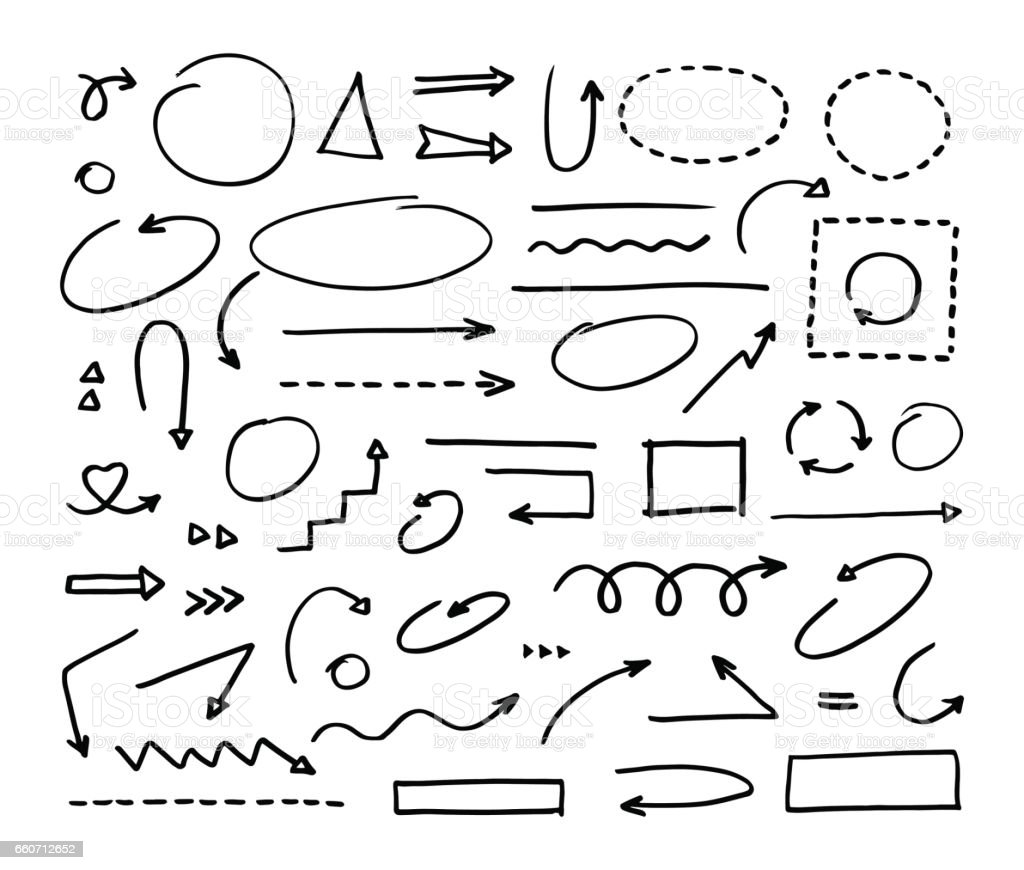 Handcrafted elements. Hand drawn vector arrows set on white background