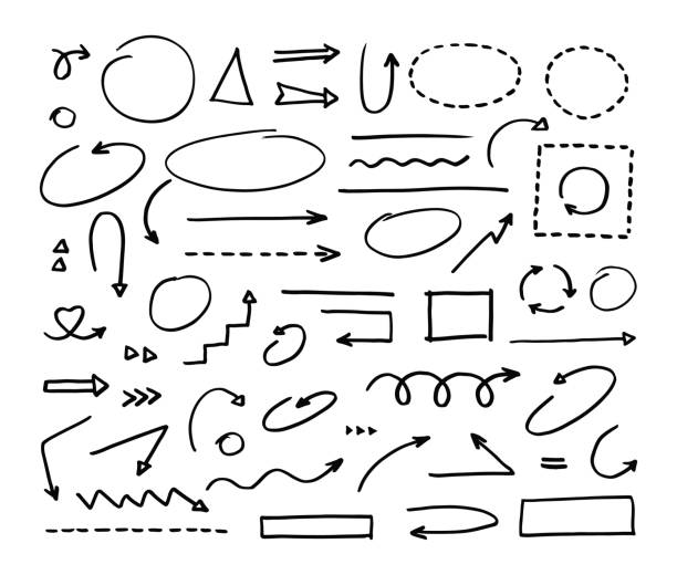 Handcrafted elements. Hand drawn vector arrows set on white background - illustrazione arte vettoriale